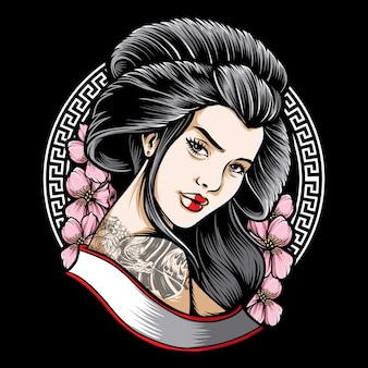 Tattooed geisha with sakura tattoo illustration