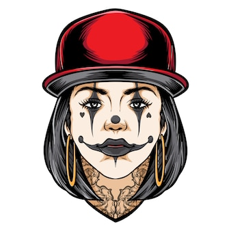 Tattooed girl with clown makeup tattoo illustration