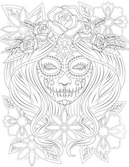 美しい花のヘッドドレスを身に着けている長い髪の入れ墨の女性の顔の線画。絵を描く女性の頭には、頭の上に長い髪型のバラがあります。