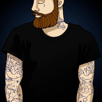 Tattooed man hipster with beard and oldstyle tattoo on hands