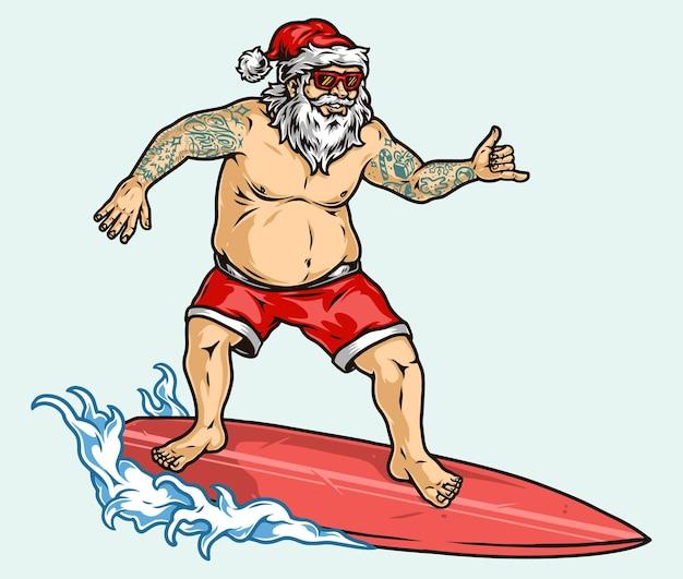 선글라스에 문신을 한 산타클로스, 파도를 서핑하고 고립된 빈티지 스타일의 샤카 제스처를 보여주는