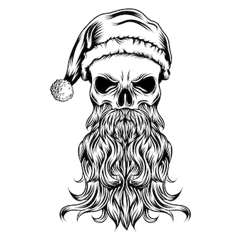 The tattoos of the dead skull with the christmas hat and long beard