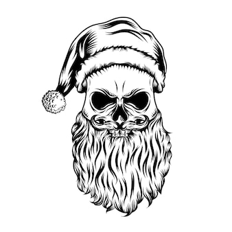The tattoos ideas of the dead skull with the christmas hat and little ball Premium Vector