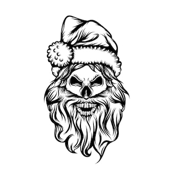 The tattoos ideas of the skull with the long beard and use the christmas hat Premium Vector