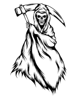 The tattoos illustration of the grim reaper with the black outlines Premium Vector