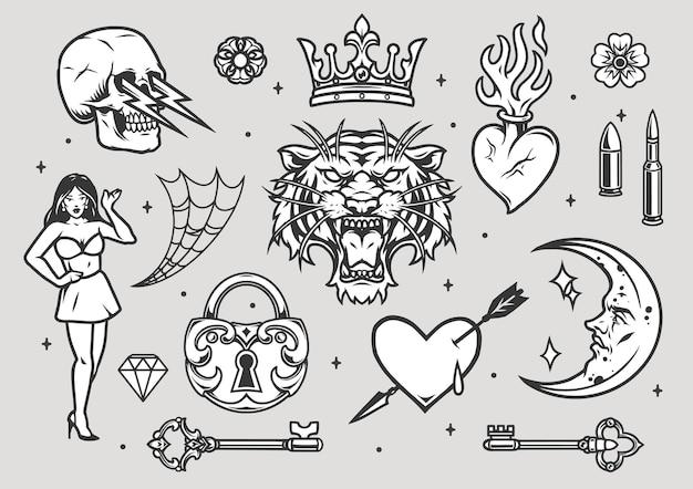 Винтажная коллекция татуировок в монохромном стиле на сером фоне