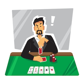 Taunting poker player illustration