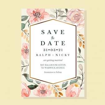Taupe 파스텔 빈티지 클래식 꽃 수채화 초대장 서식 파일