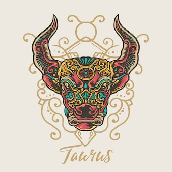 Taurus zodiac hand drawn mandala illustration