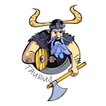 Taurus zodiac sign man flat cartoon . angry warrior, horoscope sign personality. ready to use 2d character for commercial, printing design. isolated concept icon