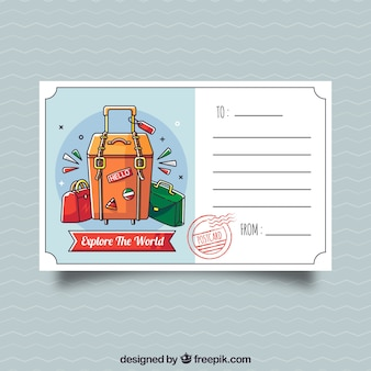 Tavel postcard template with hand drawn style