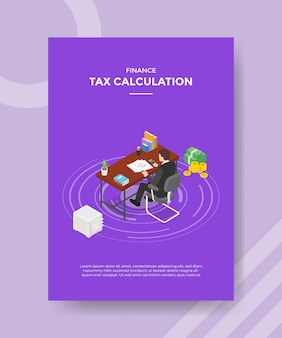 Tax calculation concept for template banner and flyer for printing with isometric style illustration