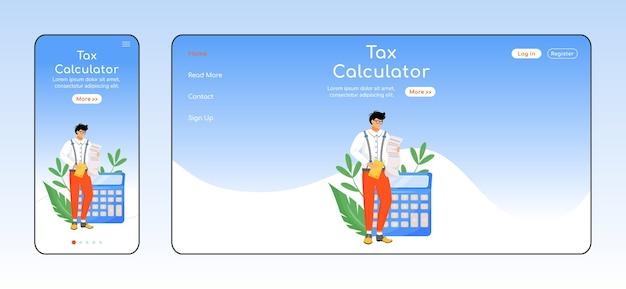 Налоговый калькулятор адаптивный шаблон целевой страницы с плоским цветом. макет домашней страницы для мобильных устройств и пк для оплаты счетов. налогоплательщики используют одностраничный интерфейс сайта. кросс-платформенный дизайн веб-страницы финансовой грамотности