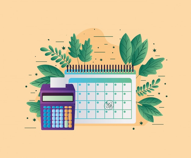 Tax calendar calculator and leaves vector design