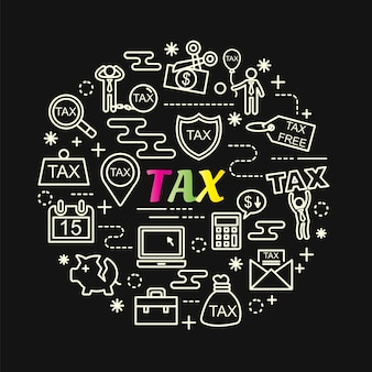 Tax colorful gradient with line icons set