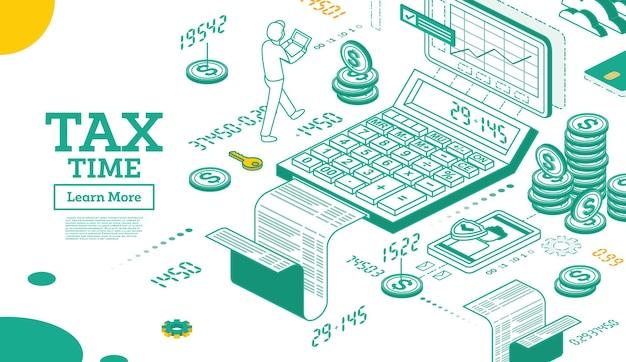 Концепция налога в изометрической 3d стиле