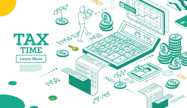 Tax concept in isometric 3d style