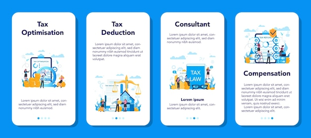 Tax consultant concept mobile application banner set. idea of accounting and payment. financial bill. tax optimization, deduction and refund.