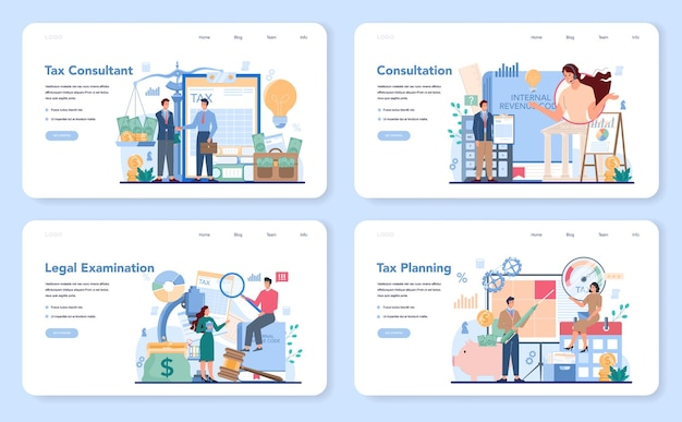 Tax consultant web banner or landing page set