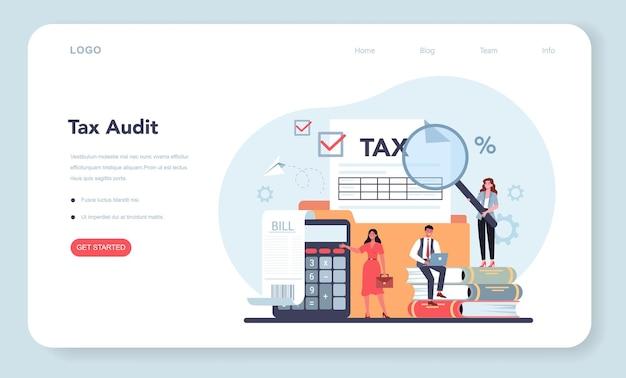 税理士のwebテンプレートまたはランディングページ。会計と支払いのアイデア。金融法案。税務監査、協議、納税の分析。フラットベクトル図
