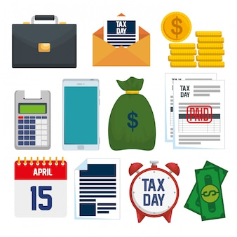 Tax day 15 april. set service tax report with financial document
