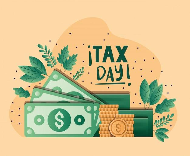 税日手形コインと葉ベクターデザイン