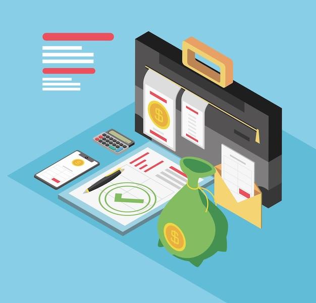 День налогообложения, портфель документов, калькулятор, деньги и смартфон, изометрическая иллюстрация