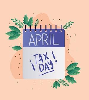 税日カレンダーと葉ベクターデザイン