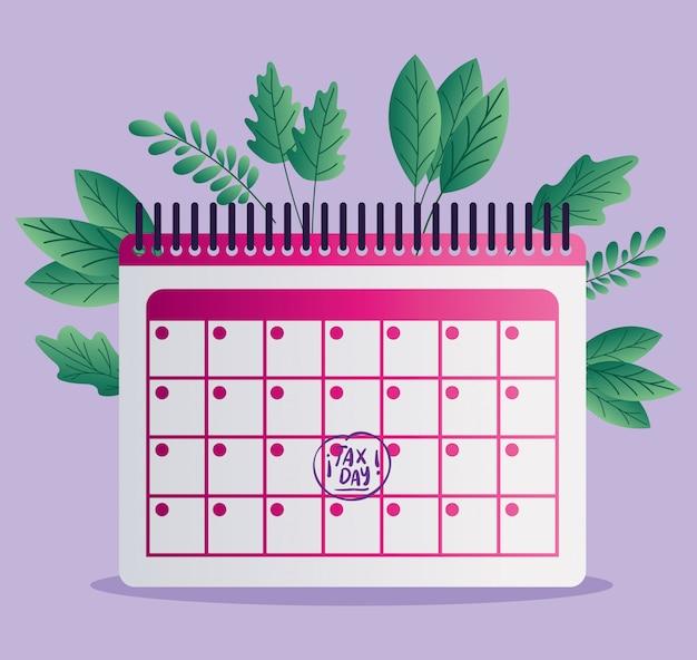 税日カレンダーと葉