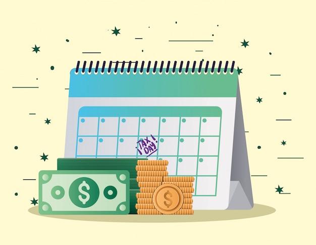 Tax day calendar bills and coins