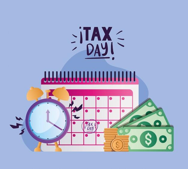 Tax day calendar clock bills and coins vector design