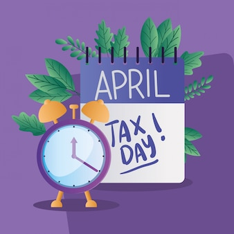 Tax day calendar and clock