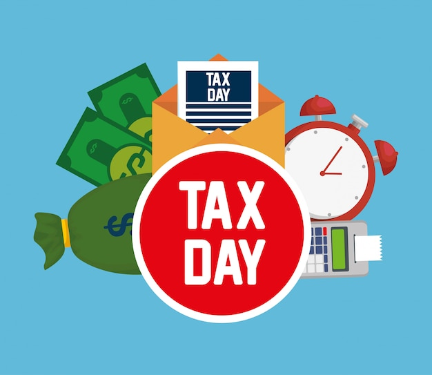 Tax day. dataphone tax report with bills and clock