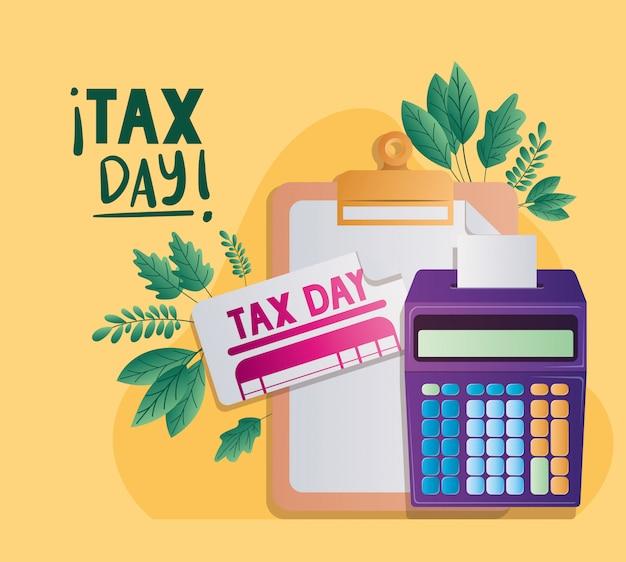 税務日ドキュメント電卓と葉ベクターデザイン