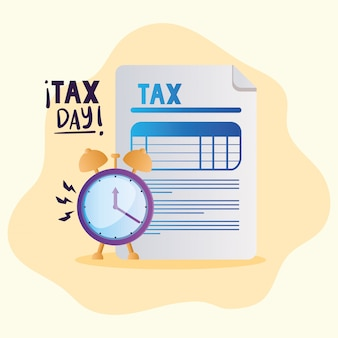 Tax day document and clock
