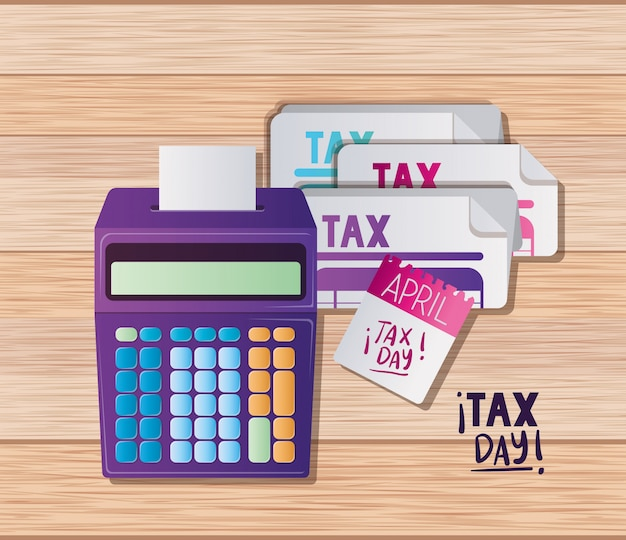 税務日ドキュメント電卓とカレンダーベクターデザイン