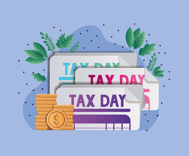 税の日文書コインと葉ベクターデザイン