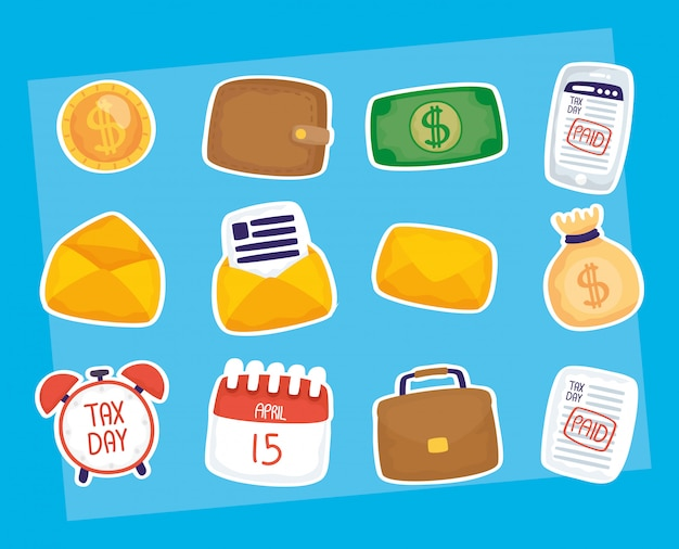 Tax day illustration compositions set