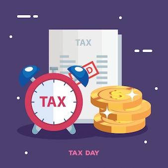 Иллюстрация налогового дня с будильником и деньгами