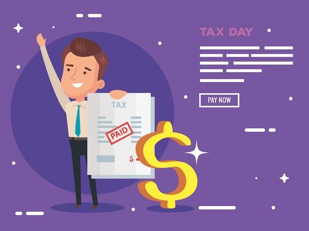 実業家と支払文書と税日図