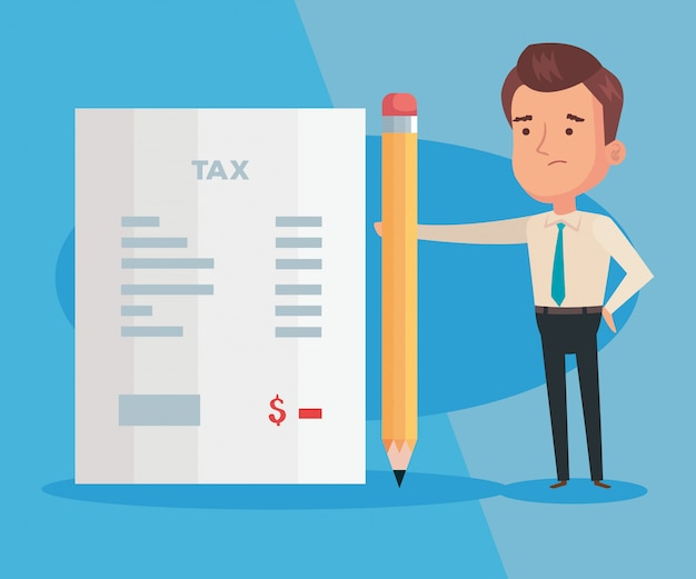 Иллюстрация налогового дня с бизнесменом и документом