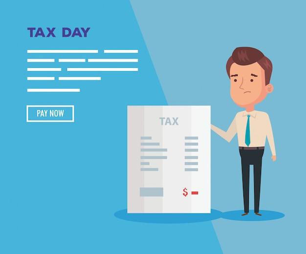 実業家とドキュメントの税日イラスト