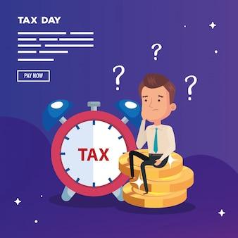 День налоговой иллюстрации с бизнесменом и деньгами