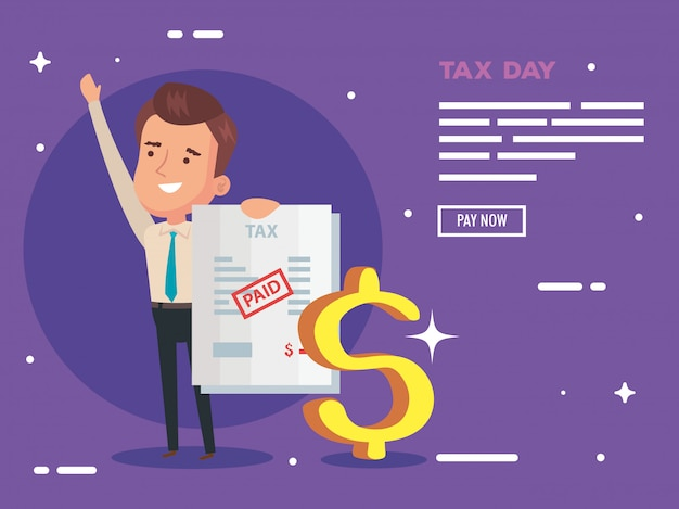 Tax day illustration with businessman and document paid