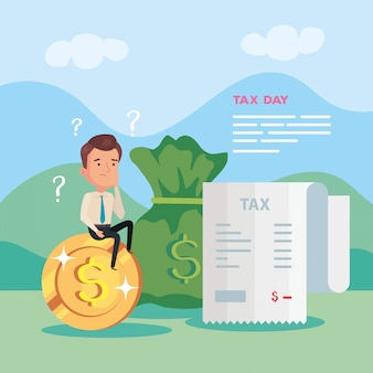 Tax day illustration with businessman in nature