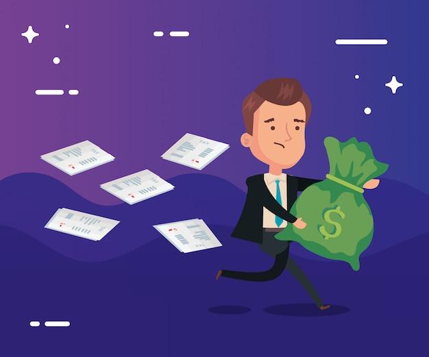 День налоговой иллюстрации с бизнесменом работает
