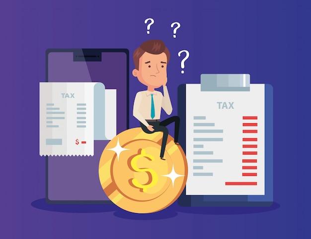 Иллюстрация налогового дня с бизнесменом