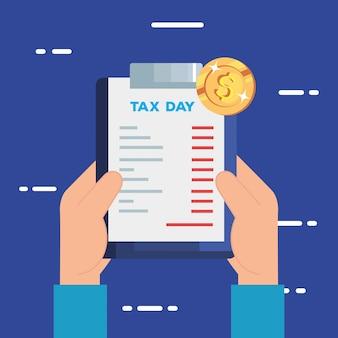 Иллюстрация налогового дня с буфером обмена и документ