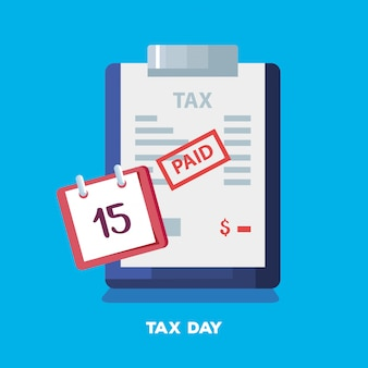 Tax day illustration with clipboard calendar 15 april