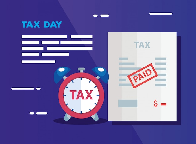 Tax day illustration with document and alarm clock
